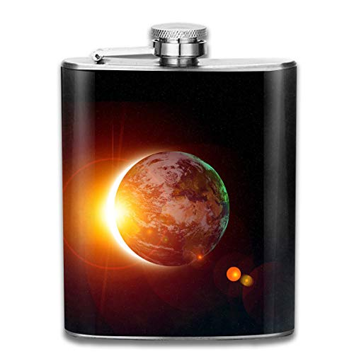 Laki-co Solar Eclipse Sun Hip Flask for Liquor Stainless Steel Bottle Alcohol 7oz -