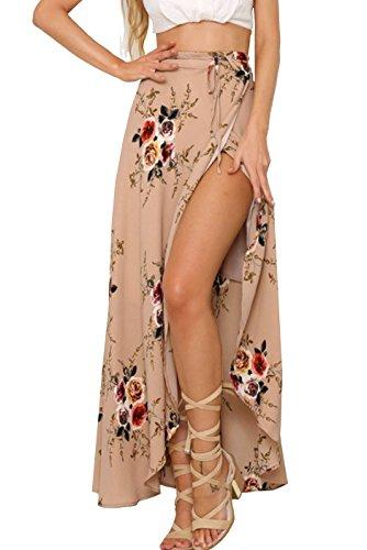 Curlbiuty Women Boho Floral Printed Tie up Beach Maxi Skirt (Floral Lightweight Skirt)
