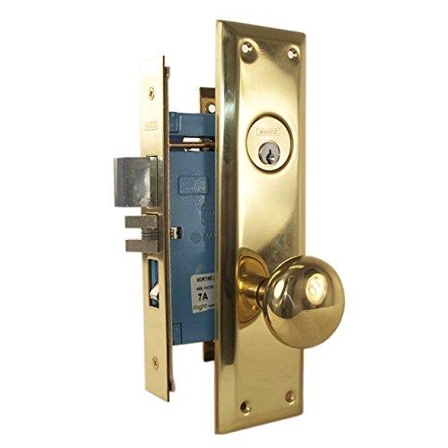 Marks Metro 71A/3 Polished Brass US3 Right Hand Mortise Entry Lockset Surface Mounted (Entrance Lockset Mortise)