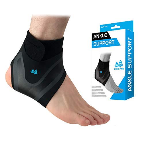 BLUE PINE Ankle Support Adjustable Lightweight Ankle Brace Breathable Material Ankle Sleeve for Men and Women, Single Unit (Right, Large)