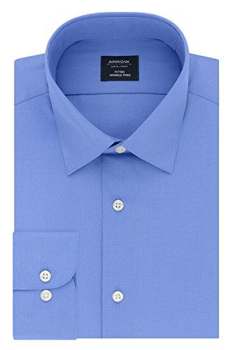 Arrow Men's Fitted Dress Shirt Poplin, Corn Flower, 16-16.5 Neck 34-35 Sleeve