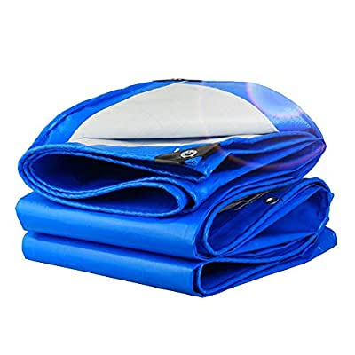 Heavy Duty Tarpaulin Extra Size Waterproof Tarp with Grommets Anti-aging Windproof Sunscreen Blue PE Swimming Pool Cover 160g/m² (Size : 5×6M)