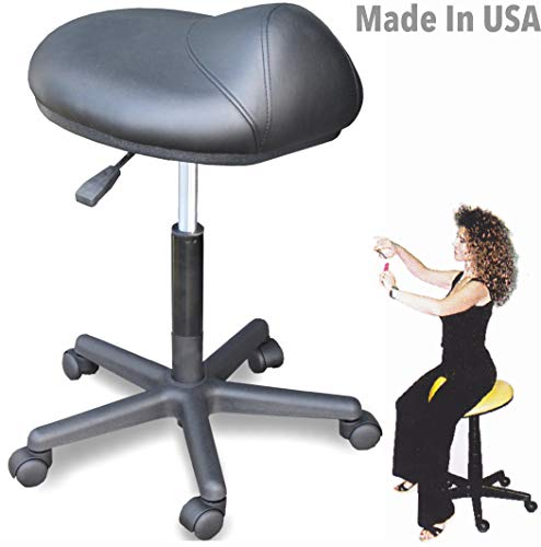 915 Ergonomic Saddle Stool Chair Salon Spa Anti-fatigue w/air Lift Made in USA by Dina Meri