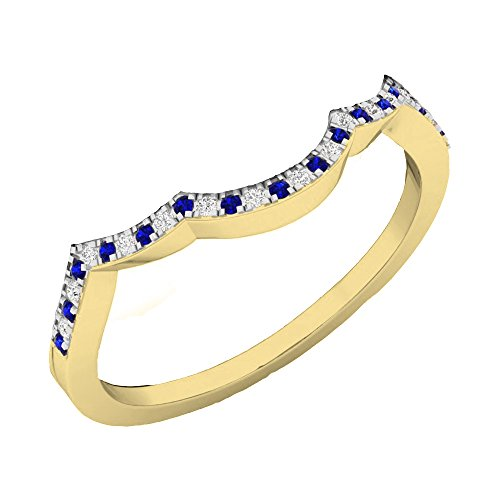 (10K Yellow Gold Round Cut Blue Genuine Sapphire & White Diamond Ladies Wedding Contour Guard Ring)