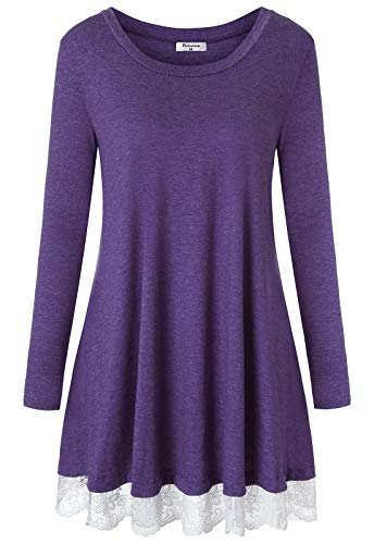 Bobolink Swing Tunic with Pockets, Long Sleeve Flowy Tops Long Sleeve Feminine Boat Neck Pleated Shirt Dress Lace Hemline Flare Casual Wear Tees Blouses Modest Business Work Clothes Large Purple