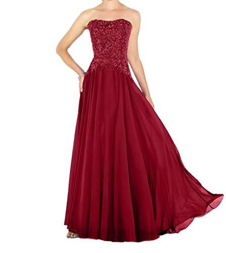 Traegerlos Linie Charmant Damen Rock Abendkleider Rot Lang Festlichkleider Partykleider Pailletten Promkleider A q5awyTzHa