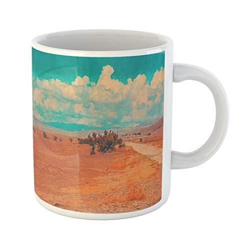 (Semtomn Funny Coffee Mug Blue Sky Clouds Summer Steppe Landscape African Desert Mountains 11 Oz Ceramic Coffee Mugs Tea Cup Best Gift Or Souvenir)