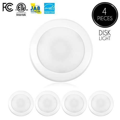 "Price comparison product image (4-Pack)- 5/6"" Dimmable LED Disk Light Flush Mount Ceiling Fixture, 15W (120W Replacement), 5000K (Day Light), ENERGY STAR, Installs into Junction Box Or Recessed Can, 1050lm"