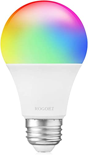 Smart Light Bulb with Soft White Light 2700K RGBW, ROGOEI E26 WiFi Led Light Bulb, A19 Multicolor Led Bulb Compatible with Alexa Google Assistant and Phone 6.5W 45W Equivalent 1 Pack