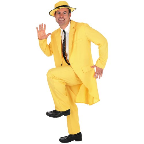 Curious George Masks - Fun Shack Men's Yellow Suit 'The Mask' Costume X Large Multicoloured