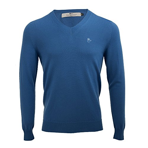 Claudio Lugli Merino Wool Luxury Mens V-Neck Casual Jumper CL8001 Medium Royal Blue supplier