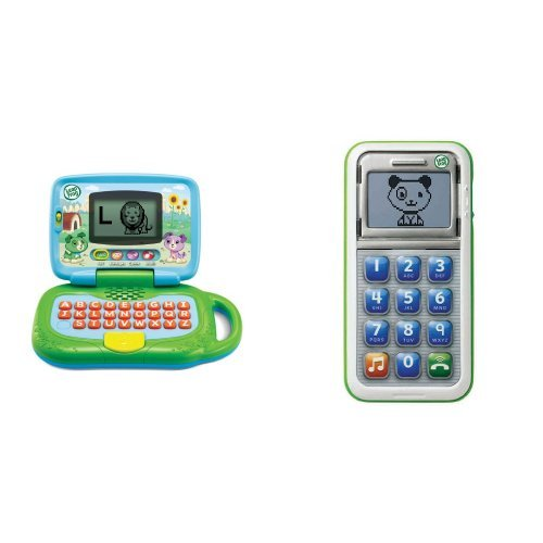 LeapFrog Leaptop and Smart Phone Business Baby Bundle, Green (Tap Alphabet Toys And Learn Kids)