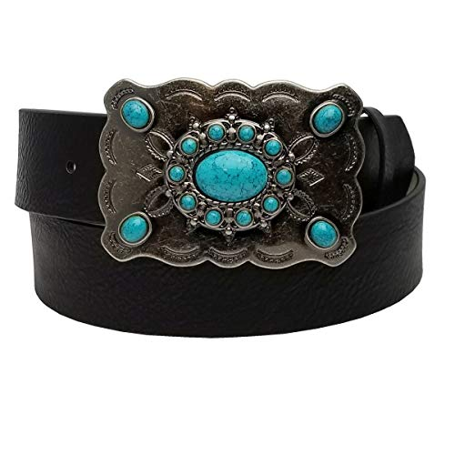 Western Turquoise Buckle with Vegan black strap M