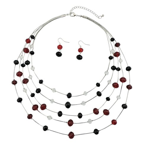 Bocar 5 Layer Handmade Beads Necklace Earring Set Long Illusion Necklace for Women (NK-10464-black+red)