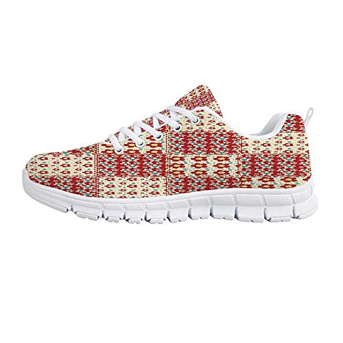 (YOLIYANA Cabin Decor Jogging Running Shoes,Traditional Quilt Pattern with Spring Garden Flowers Daisies Decorative Sneakers for Girls Womens,US Size 8 )