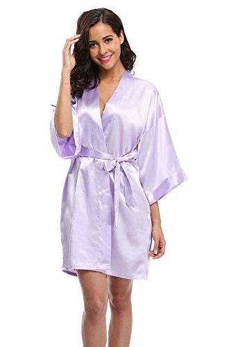 Light Purple Rhinestone - Women's Satin Rhinestone Short Wedding Kimono Robe for Bridesmaid, Light Purple XS