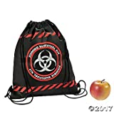zombie supplies - Zombie Survival Drawstring Backpacks - 12 pc