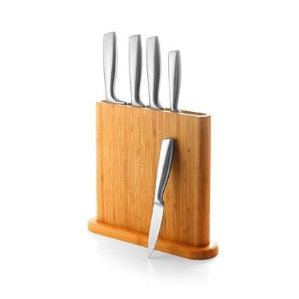 Juego de 5 cuchillos y soporte/bloque de madera - Coninx ...