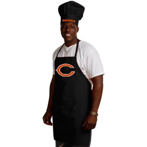Wirezoll NFL Chicago Bears Chef Hat and Apron Set, Black, One Size (Chicago Accessories Bears)