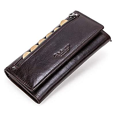 Contacts Genuine Leather Mens Secretary Long Zipper Coin Purse Wallet Coffee