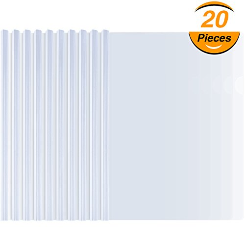 (TecUnite 20 Pieces A4 Sliding Bar Binder Transparent Report Covers Folder for Documents Classification)