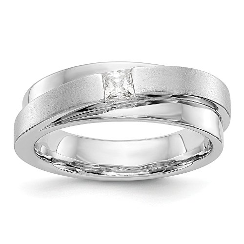 JewelrySuperMart Collection 1/5 CT 14k White Gold AA Diamond Men's Band. 0.209 ctw. Size 12.5