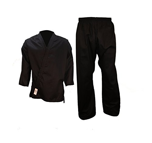 Tokyodo Karate Gi/Uniform Jacket, Pants & White Belt - 8 Oz, Medium Weight (Black, 0/130)