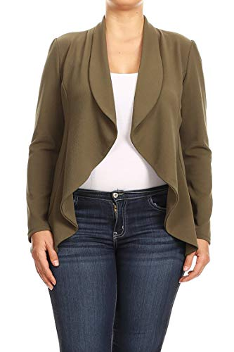 Plus Size Solid Print Casual Long Sleeve Open Front Jacket Blazer/Made in USA Olive 2XL