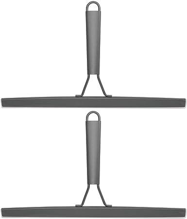 mDesign Juego de 2 modernos limpiadores de cristales – Práctico accesorio para limpiar mamparas de ducha o ventanas – Limpiavidrios con soporte de ventosa para la pared – gris oscuro: Amazon.es: Hogar