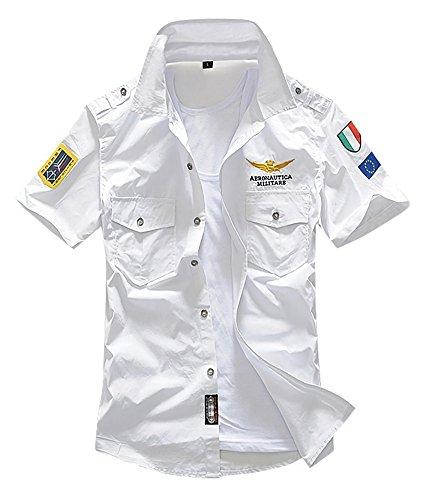 Makalika メンズ ミリタリー シャツ 半袖 トップス フラップポケット ホワイト ブラック カーキ S-XL