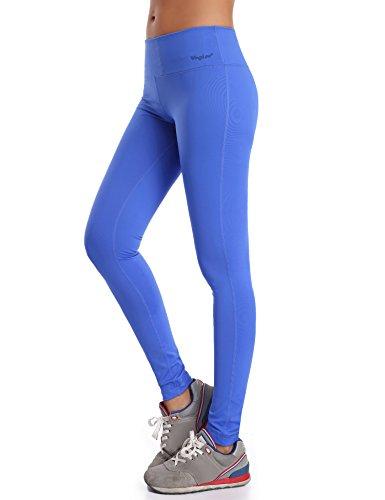 WingsLove Womens Sport Slimming Fitness Running Yoga Capris Flex Leggings Pants (M, Blue)