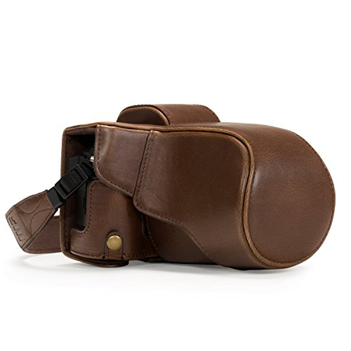 MegaGear Ever Ready Protective Leather Camera Case, Bag for Olympus OM-D E-M5 Mark II with 12-40mm and 40-150mm Lenses (Dark Brown) (Best Bag For Omd Em5)