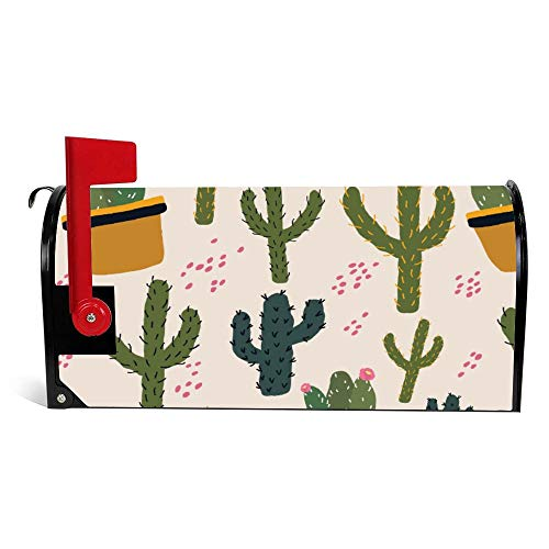 DKISEE Magnetic Mailbox Cover Colorful Vegas Cactus Mailbox Wraps Post Letter Box Cover