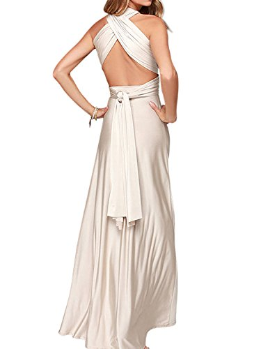 (Clothink Women Cream Convertible Wrap Plus Size Maxi Dresses Cream)