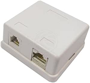 Cablematic - Caja de superficie de 1 RJ11 Cat.3 y 1 RJ45 Cat.5e FTP