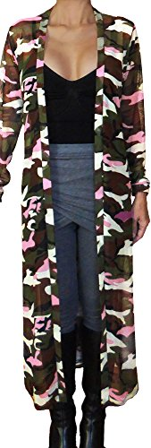 Funfash Women Camo Pink Mesh Kimono Long Duster Cardigan Jacket Coat Made In USA