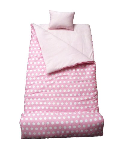 SoHo kids Dot Pink White children sleeping slumber bag with pillow and carrying case lightweight foldable for sleep over by SoHo Designs