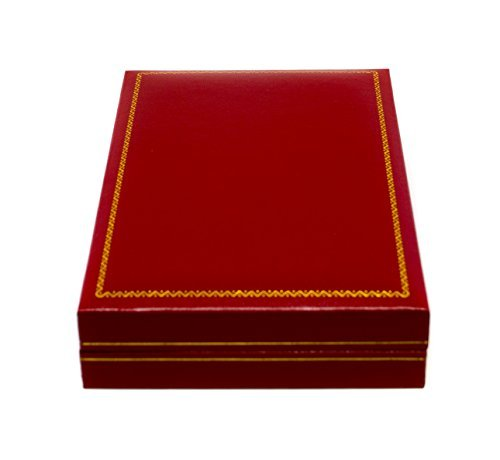 Novel Box® Jewelry Necklace Box in Red Leather + Custom NB Pouch