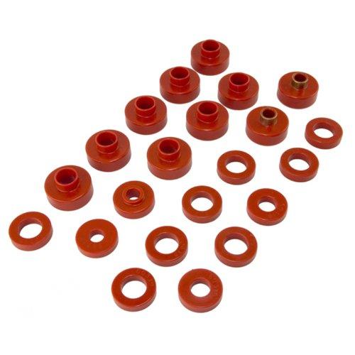 (Prothane 1-102 Red Body Mount Bushing Kit for CJ5, CJ7, CJ8, YJ and TJ - 22 Piece)