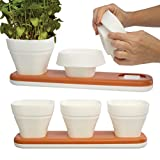 Infusion Living (6 Herb Pots & 2 Water Draining Trays) Adjustable Size Silicone Herb Pots Indoor Garden Plant Pot Set For Herbs Flowers