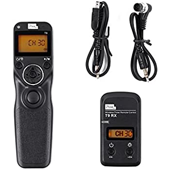 Pixel T9-DC0/DC2 LCD FSK 2.4GHz Wired & Wireless Shutter Release Timer Remote Control with Two Cables for Nikon D800 series/D810 series/300series/D300s/D700/D300/D7200/D7100/D7000 (DC0/DC2)