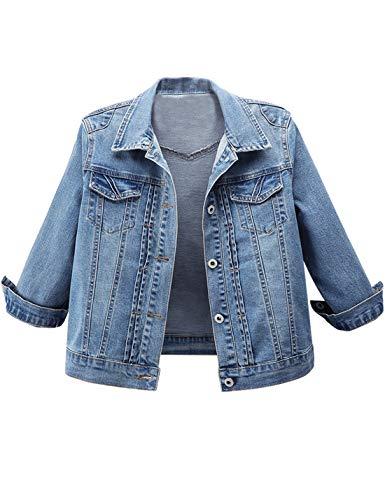 (Omoone Women's 3/4 Sleeve Cropped Slim Distressed Denim Trucker Jacket Shrug Top(03 Blue-L))