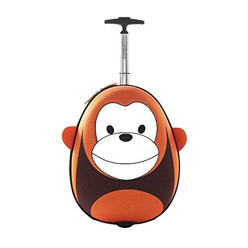 i-baby Kids Luggage Carry On 18 Inch Upright Hard Side 3D Cartoon Face, Monkey brown