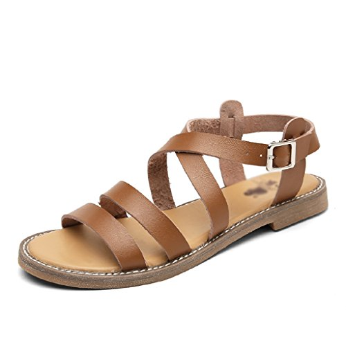Sandals ZCJB Europe And America Flat Woman Summer Rome Women's Shoes Leather Casual And Slippers (Color : Pink, Size : 36) Brown