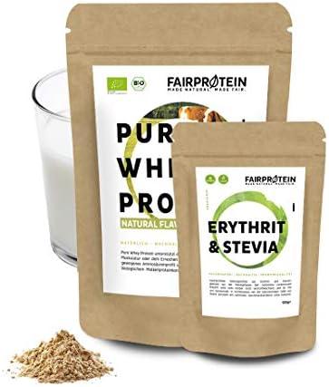 Fairprotein® Bio Whey Protein - Süße selbst bestimmen » Bio Protein aus Deutschland « Bio Proteinpulver für Männer & Frauen - 650g sojafreies Premium-Molkenprotein (Neutral) + 120g Erythrit & Stevia