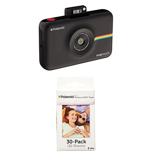 Polaroid Snap Touch Instant Print Digital Camera With LCD Display (Black) w/ Polaroid 2x3-Inch Premium ZINK Photo Paper (30 (Digital Photo Printer Picture)