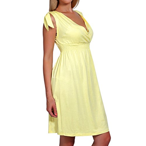 Women's Pleated Dress Neck Flare Yellow Length V Cekaso Knee and Fit Dress Sleeveless 6dUqaB0