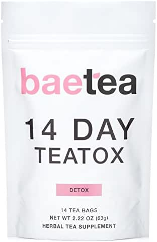 Baetea 14 Day Teatox: Gentle Detox Tea. Reduce Bloating and Constipation. Appetite Suppressant. 14 Pyramid Tea Bags. Natural Weight Loss Tea. Ultimate Body Cleanse.