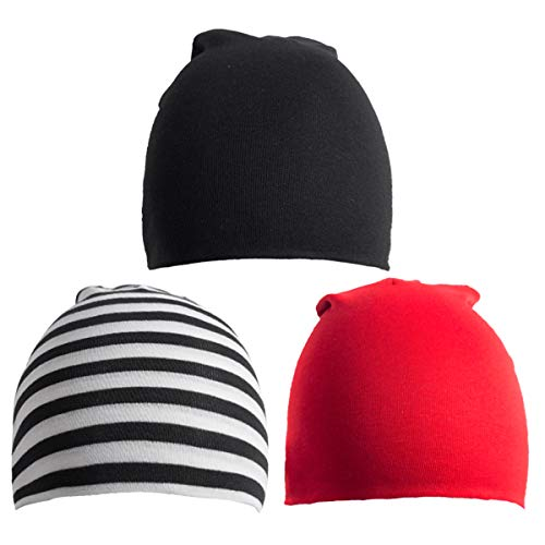 - 6 Pack Toddler Infant Baby Cotton Soft Cute Knit Kids Hat Beanies Cap (Large/1-4 Years, 3PACK-Black Light Grey Red)