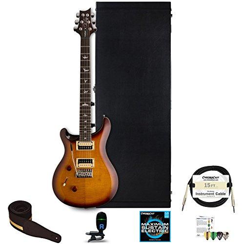 PRS SE Custom 24 Left Handed Electric Guitar with ChromaCast Hard Case, Strap, Tuner, Strings, Picks & Strap, Tobacco Sunburst (Guitar Picks Prs)